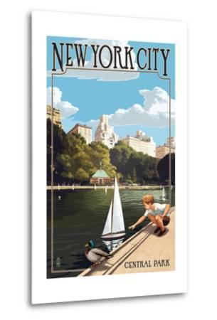 New York City, New York - Central Park-Lantern Press-Metal Print
