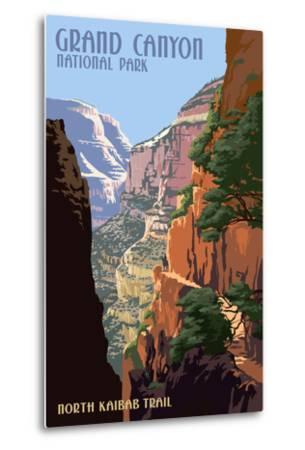 North Kaibab Trail - Grand Canyon National Park-Lantern Press-Metal Print