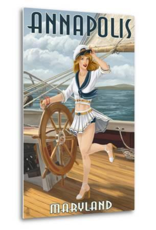 Annapolis, Maryland - Pinup Girl Sailing-Lantern Press-Metal Print
