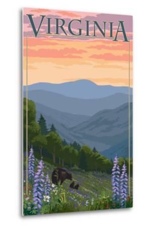 Virginia - Black Bear and Cubs Spring Flowers-Lantern Press-Metal Print