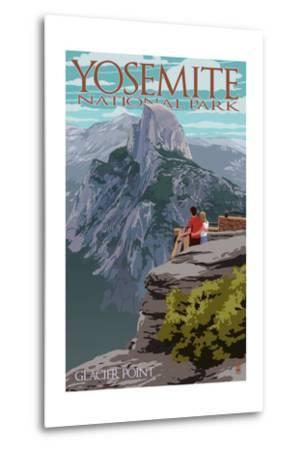 Yosemite National Park, California - Glacier Point and Half Dome-Lantern Press-Metal Print