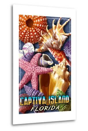 Captiva Island, Florida - Shell Montage-Lantern Press-Metal Print