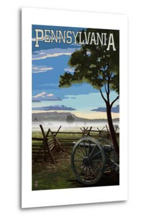 Pennsylvania - Military Park-Lantern Press-Metal Print