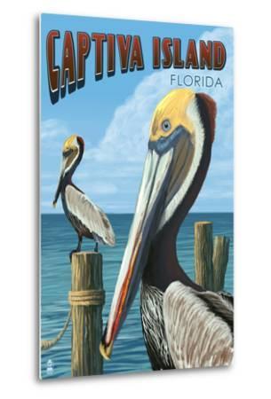 Captiva Island, Florida - Brown Pelican-Lantern Press-Metal Print