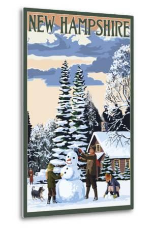 New Hampshire - Snowman Scene-Lantern Press-Metal Print