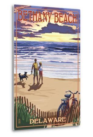 Bethany Beach, Delaware - Beach and Sunset-Lantern Press-Metal Print