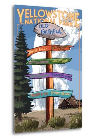 Yellowstone National Park - Signpost-Lantern Press-Metal Print
