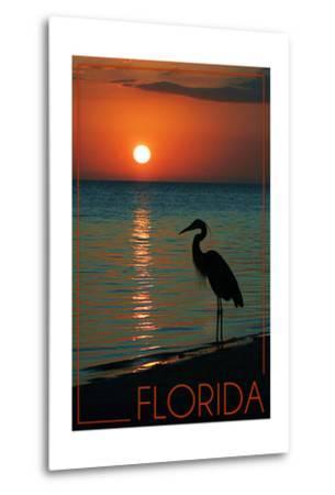 Florida - Heron and Sunset-Lantern Press-Metal Print