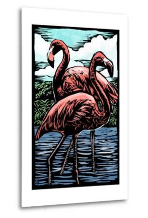 Flamingos - Scratchboard-Lantern Press-Metal Print