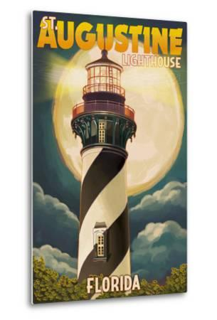 St. Augustine, Florida - Lighthouse and Moon-Lantern Press-Metal Print