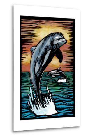 Dolphins - Scratchboard-Lantern Press-Metal Print