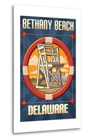 Bethany Beach, Delaware - Lifeguard Chair-Lantern Press-Metal Print