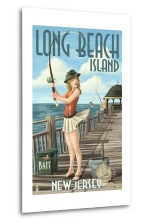 Long Beach Island, New Jersey - Fishing Pinup Girl-Lantern Press-Metal Print