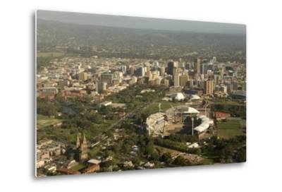 Air View of Downtown Adelaide, South Australia, Australia, Pacific-Tony Waltham-Metal Print