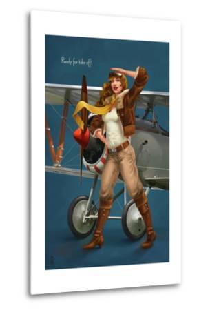 Pinup Girl Aviator - Ready for Take Off!-Lantern Press-Metal Print