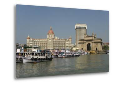 Gateway of India on the Dockside Beside the Taj Mahal Hotel, Mumbai, India, Asia-Tony Waltham-Metal Print