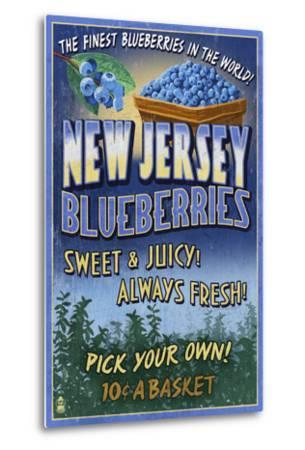 New Jersey - Blueberry Farm Vintage Sign-Lantern Press-Metal Print
