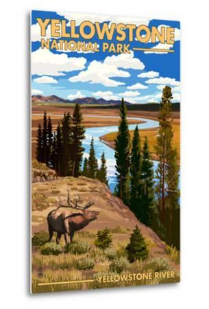 Yellowstone National Park - Yellowstone River and Elk-Lantern Press-Metal Print