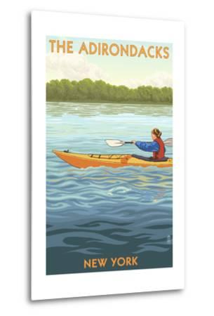 The Adirondacks, New York State - Kayak Scene-Lantern Press-Metal Print
