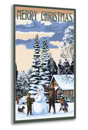 Merry Christman - Snowman Scene-Lantern Press-Metal Print
