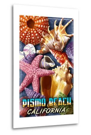 Pismo Beach, California - Shell Montage-Lantern Press-Metal Print