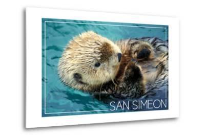 San Simeon, CA - Sea Otter-Lantern Press-Metal Print