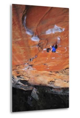 Looking Down Upon a Rock Climber in Grampians National Park, Australia-Keith Ladzinski-Metal Print