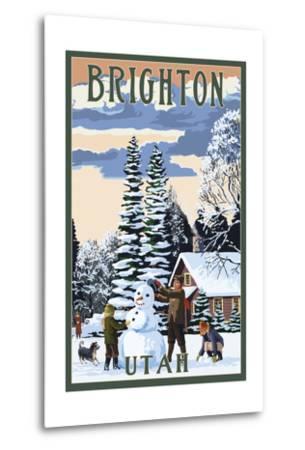 Brighton Resort, Utah - Snowman Scene-Lantern Press-Metal Print