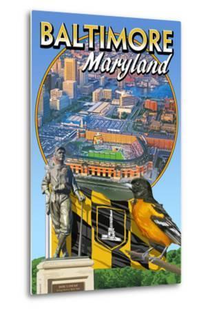 Baltimore, Maryland - Baseball Montage-Lantern Press-Metal Print