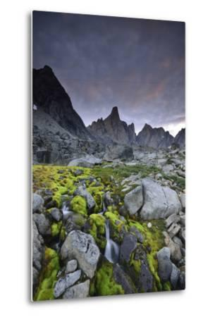 A Mountain Stream Coursing Through Moss-Covered Boulders-Keith Ladzinski-Metal Print