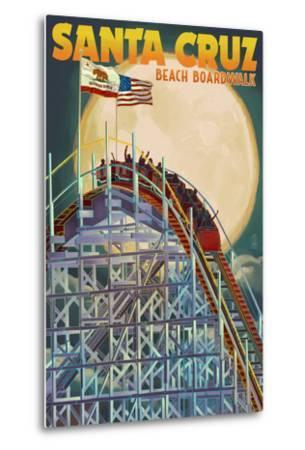 Santa Cruz, California - Big Dipper Coaster and Moon-Lantern Press-Metal Print