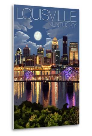 Louisville, Kentucky - Skyline at Night-Lantern Press-Metal Print