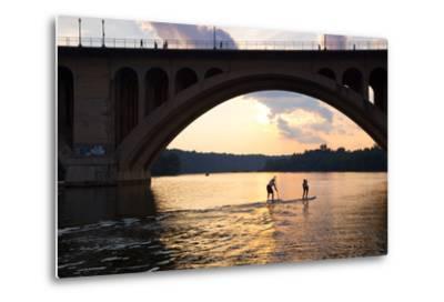Paddleboarders Glide on the Potomac River under the Key Bridge in Georgetown-Skip Brown-Metal Print