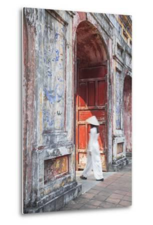 Woman Wearing Ao Dai Dress at Dien Tho Inside Citadel, Hue, Thua Thien-Hue, Vietnam (Mr)-Ian Trower-Metal Print