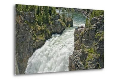 Tourists Watch Yellowstone River Plunge over Upper Yellowstone Falls-Gordon Wiltsie-Metal Print
