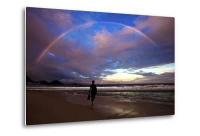 A Rainbow over Copacabana Beach in Rio De Janeiro-Chris Bickford-Metal Print