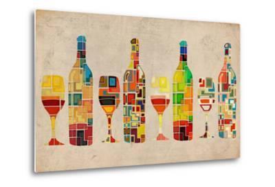 Wine Bottle and Glass Group Geometric-Lantern Press-Metal Print