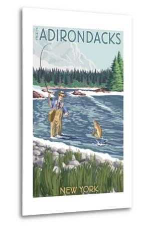 The Adirondacks, New York State - Fishing Scene-Lantern Press-Metal Print