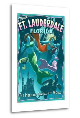 Ft. Lauderdale, Florida - Live Mermaids-Lantern Press-Metal Print