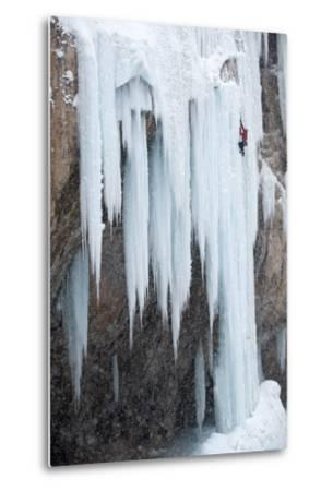 A Man Ice-Climbing-Keith Ladzinski-Metal Print