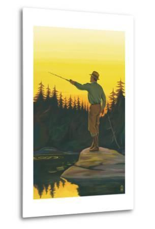 Fly Fishing Scene-Lantern Press-Metal Print