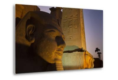 Head of Ramses Ll at Entrance to Luxor Temple-Michael Melford-Metal Print