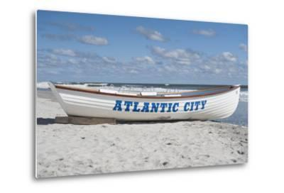 A Rowboat Sits on the Beach in Atlantic City, New Jersey-Jeff Mauritzen-Metal Print