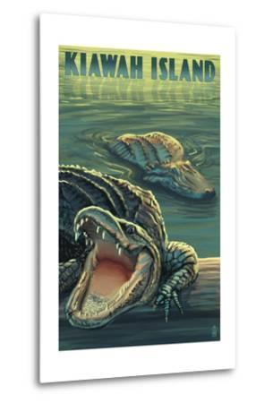 Kiawah Island, South Carolina - Alligator Scene-Lantern Press-Metal Print
