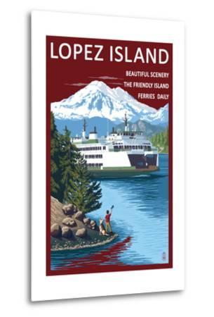 Lopez Island, Washington - Ferry and Boy-Lantern Press-Metal Print
