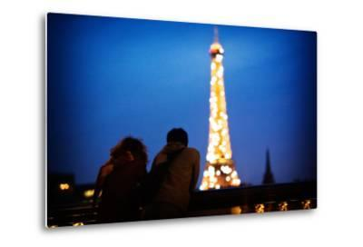 A Couple Watch the Eiffel Toer Glitter at Night in Paris, France-Chris Bickford-Metal Print