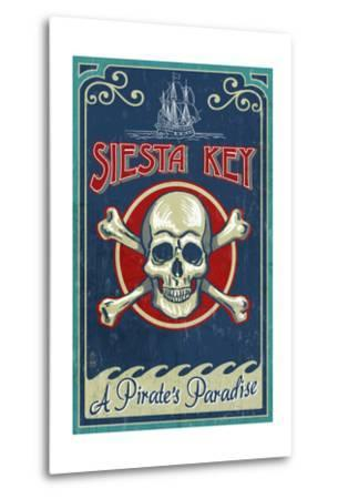 Siesta Key, Florida - Skull and Crossbones - Vintage Sign-Lantern Press-Metal Print