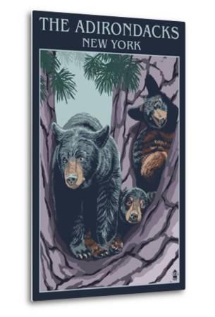 The Adirondacks, New York State - Bear Family in Tree-Lantern Press-Metal Print