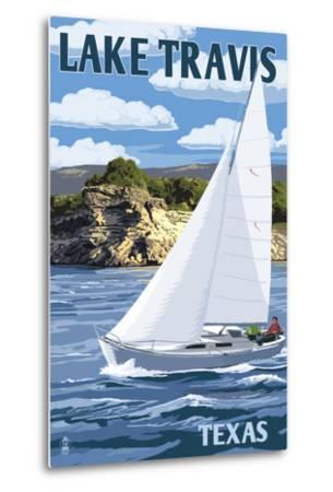 Austin, Texas - Lake Travis Sailing Scene-Lantern Press-Metal Print