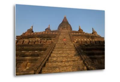 Sitting on the Steps of One of the Ancient Temples at Bagan-Alex Treadway-Metal Print
